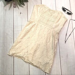 Free People Ivory Heart Lace Strapless Dress Sz 8